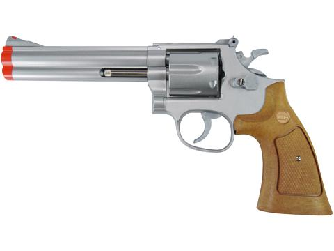 UHC TSD Sports Spring Revolver - 6 Barrel (Silver / Imitation Wood Grip)