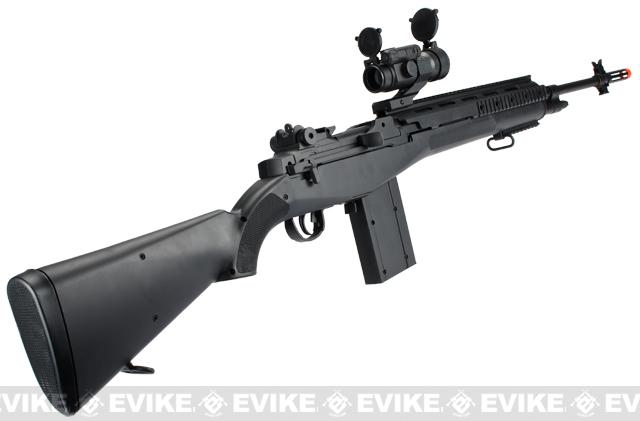 AGM M14 Full Size Airsoft Spring Powered Sniper Rifle + Red Dot & Flashlight (Color: Black)