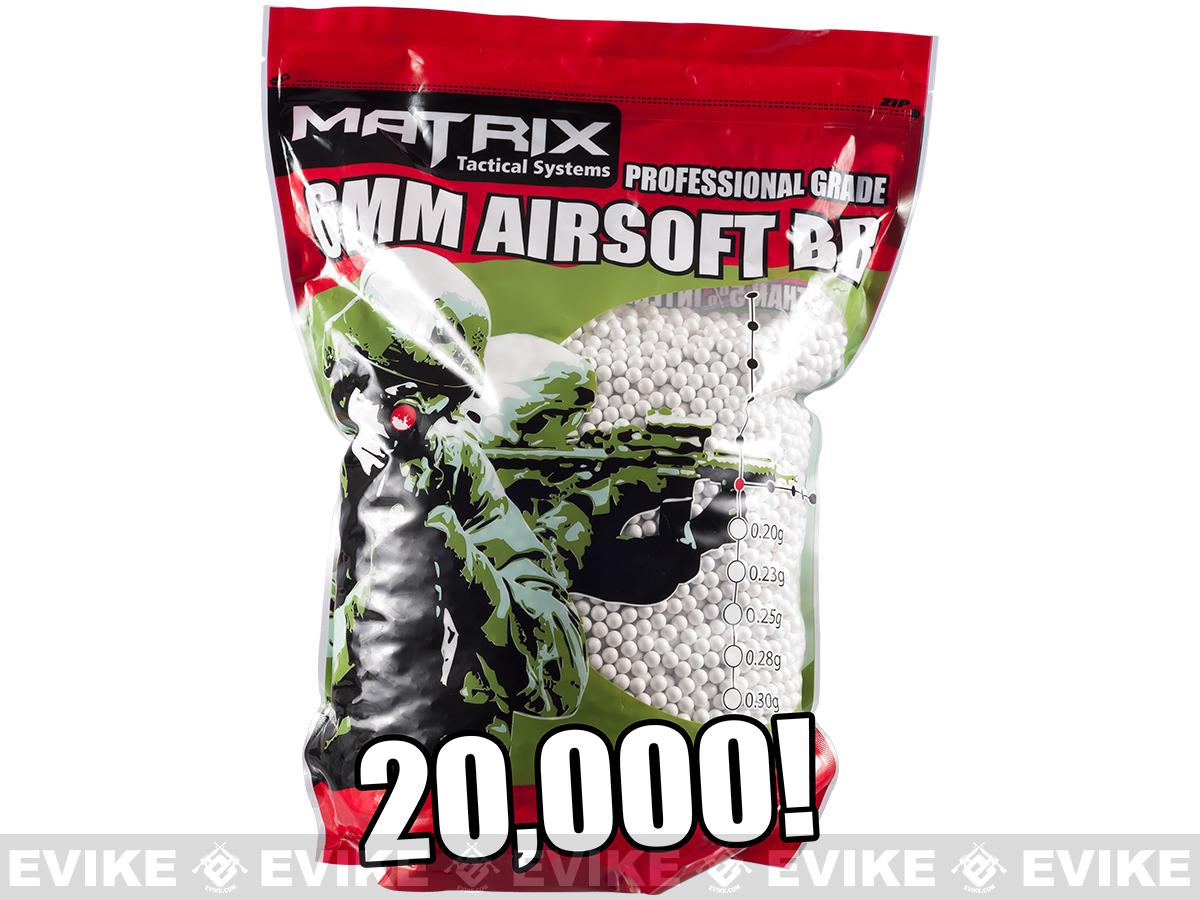 Matrix 0.25g Match Grade 6mm Airsoft BB Bulk Buy Bag- 20,000/ White