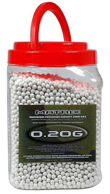 0.20g Match Grade 6mm Airsoft BB Jar by Matrix - 10,000/ White