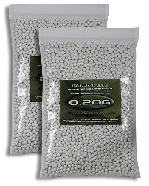 0.20g Match Grade 6mm Airsoft BB by Matrix - White (QTY: 2 Bags / 10,000 Rounds)
