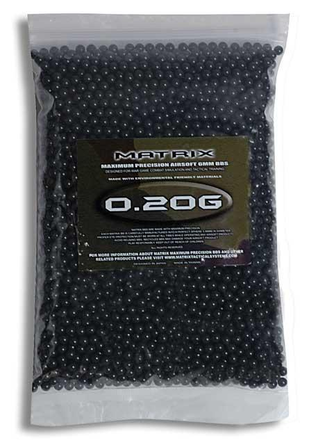 Matrix 0.20g Match Grade 6mm Airsoft BB - 5000/ Black