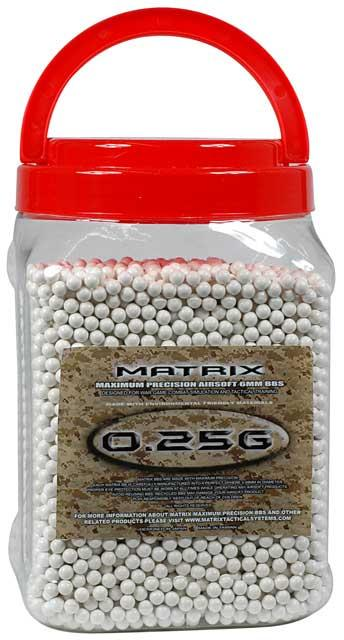 0.25g Match Grade 6mm Airsoft BB Jar by Matrix - 10,000/ White