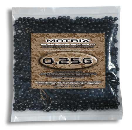 Matrix 0.25g Match Grade 6mm Airsoft BB - 1,000/ Black