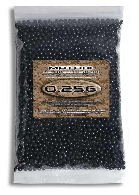 Matrix 0.25g Match Grade 6mm Airsoft BB - 2,000/ Black
