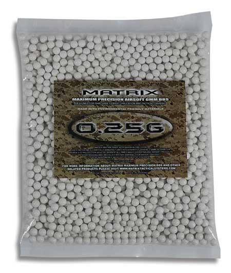 Matrix 0.25g Match Grade 6mm Airsoft BB - 2,000/ White