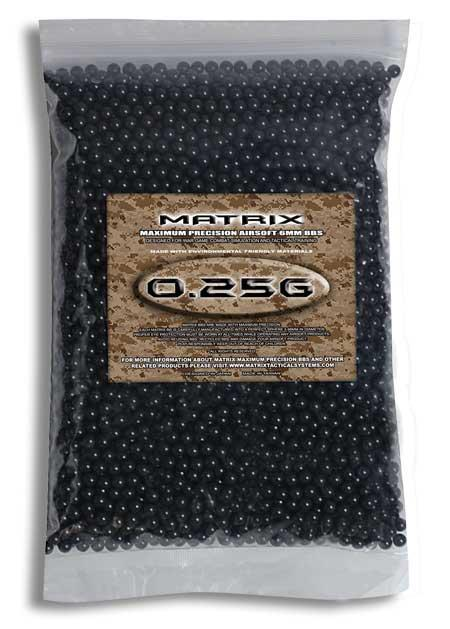 0.25g Match Grade 6mm Airsoft BB by Matrix - Black (QTY: 1 Bag / 5,000 Rounds)