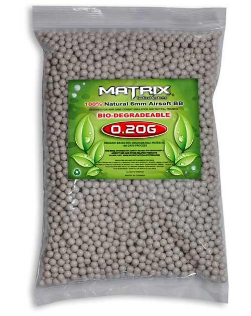 0.20g Match Grade Biodegradable 6mm Airsoft BB by Matrix - 5000/ White