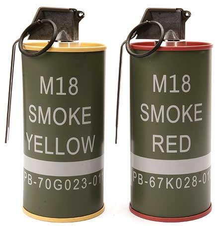 G&G M18 Dummy Smoke Grenade BB Can Set. (Red/Yellow)
