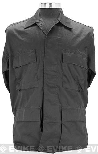 55/45 Cotton Poly Twill BDU Jacket - Black (Size: Small)