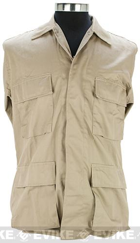 55/45 Cotton Poly Twill BDU Jacket - Khaki (Size: Large)