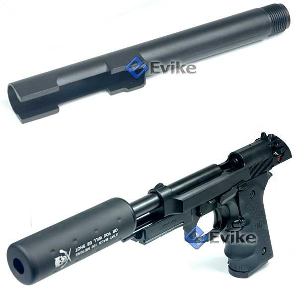 CQB Master Steel Threaded Barrel for Marui / WE/ HFC / KJW / TSD M9 Series Airsoft Gas Blowback