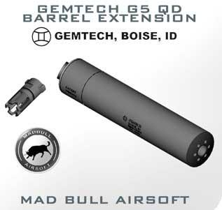 Madbull Gemtech Quick Detatch Mock Suppressor Barrel Extension w/ QD Flashhider. (Black)