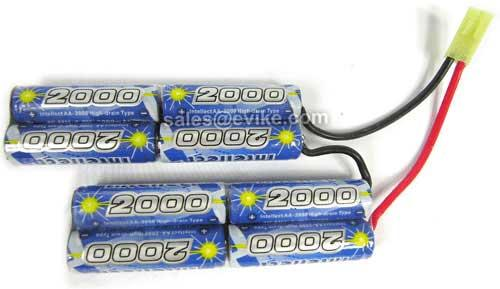 Intellect High Output 9.6V 2000mAh Ni-MH Custom Type Battery (For PEQ box, M4, AK47 and AUG)