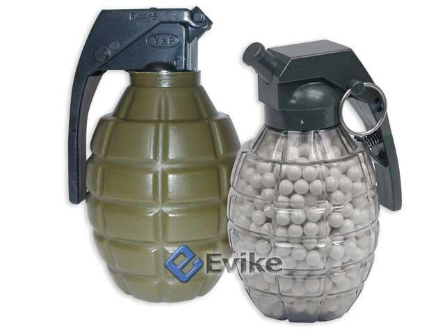 Airsoft Grenade Shape Loader Bottle with 800 0.12g Airsoft 6mm bbs