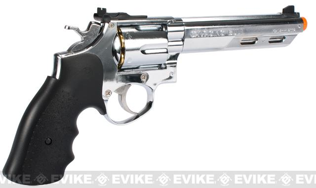 HFC 6 Bull Barrel Savage Bull Full Size Arisoft Gas Revolver - Chrome / Silver