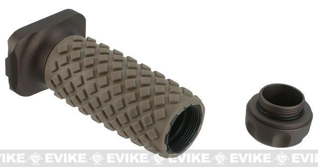 G&P KeyMod CNC Machined Aluminum Tactical Long Vertical Grip w/ Rubber Diamond Pattern (Color: Sand)