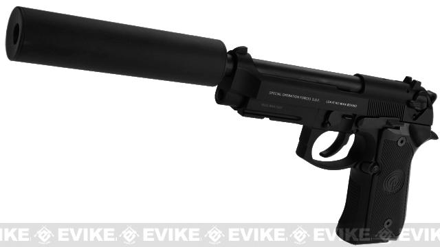 Socom Gear WE Full Metal M9A1 SOF Matte Black w/ Gemtech Trinity Airsoft Mock Silencer