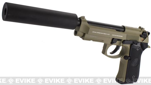 Pre-Order ETA July 2016 Socom Gear WE Full Metal M9A1 SOF Desert Combat w/ Gemtech Trinity Airsoft Mock Silencer