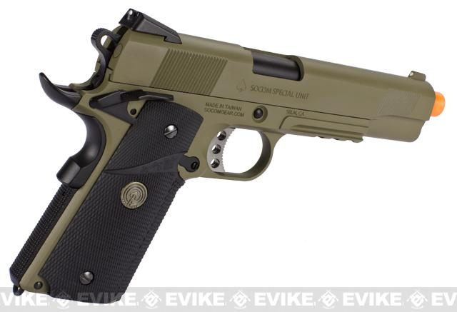 Socom Gear WE Full Metal 1911 Special Unit (Desert Tan Color) Airsoft Gas Blowback w/ Lanyard.
