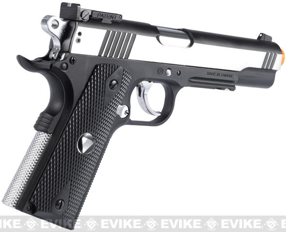 WG Xtreme 45 Full Metal US Combat 1911 Airsoft CO2 Gas Blowback - Stainless / Black Grip