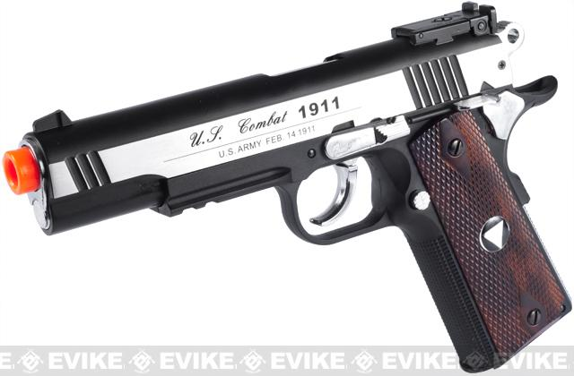 WG Xtreme 45 Full Metal US Combat 1911 Airsoft CO2 Gas Blowback - Stainless / Wood Grip