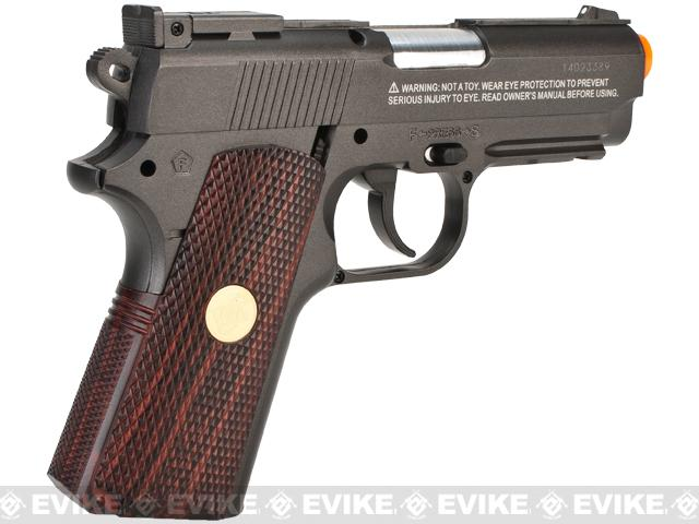 z WG High Power Full Metal 1911 Compact Airsoft Co2 Powered Gas Pistol - Black / Wood Grip