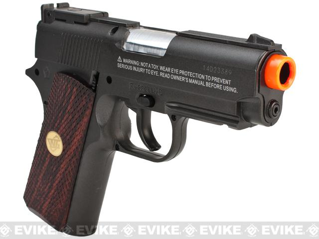 WG High Power Full Metal 1911 Compact Airsoft Co2 Powered Gas Pistol - Black / Wood Grip