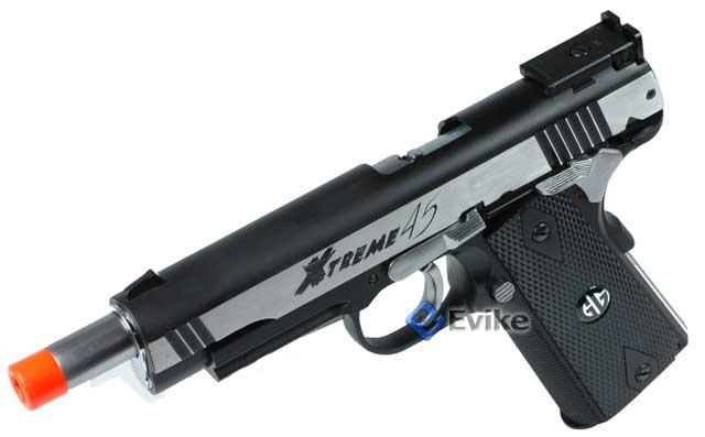 G&G Xtreme 45 Full Metal Co2 Powered Airsoft Gas Blowback Pistol - Two Tone Silver