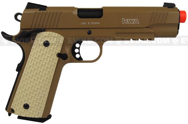 KWA Full Metal M1911 NS2 PTP w/ Railed Frame Airsoft Gas Blowback - MKII / Tan
