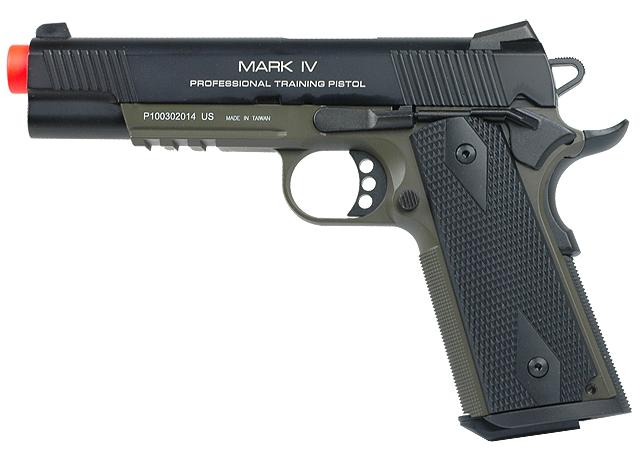 KWA Full Metal M1911 NS2 PTP w/ Railed Frame Airsoft Gas Blowback - MKIV / OD Green