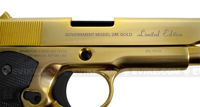 Pre-Order ETA April 2017 Socom Gear Limited Edition 24K Gold Plated WE 1911 Government Airsoft Gas Blowback Pistol (Shiny Gold Finish)