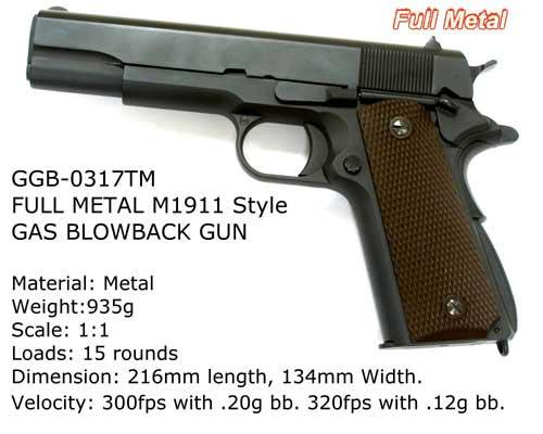 Bone Yard - WE-TECH Full Metal 1911 Airsoft Gas Blowback Pistol (Store Display, Non-Working Or Refurbished Models)