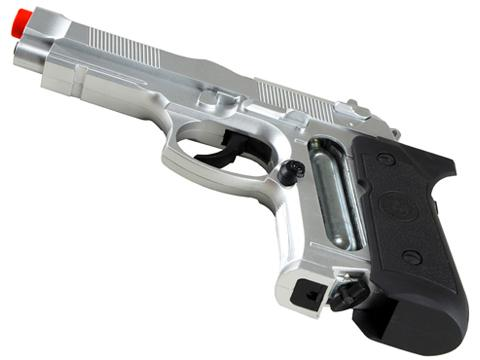 Win Gun High Power M9 Co2 Powered Airsoft Gas Pistol - Silver