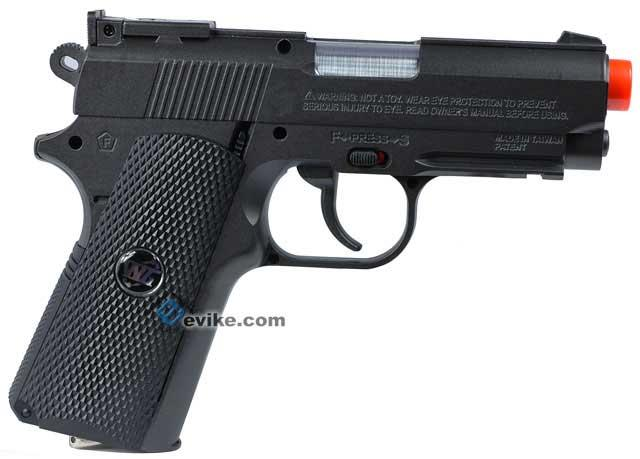 WG High Power Full Metal 1911 Compact Airsoft Co2 Powered Gas Pistol - Black / Black Grip