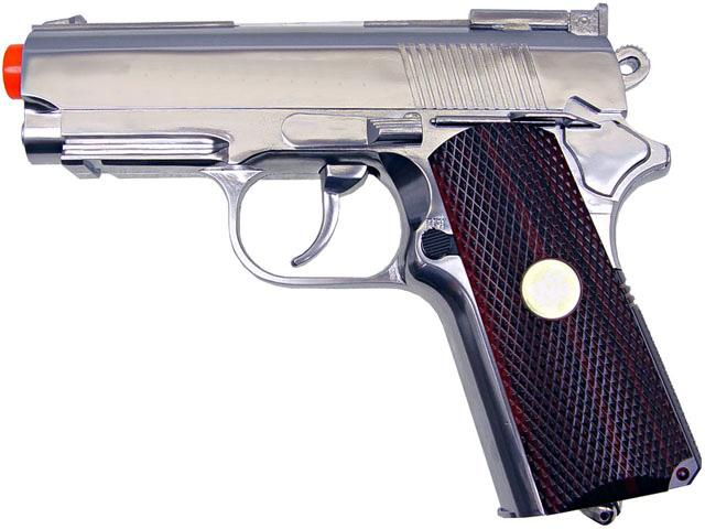 WG High Power Full Metal 1911 Compact Airsoft Co2 Powered Gas Pistol - Chrome / Wood Grip