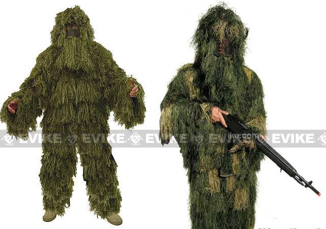 Professional Grade Sniper Simulation Camouflauge Ghillie Suit (3pcs set) - Woodland / Green
