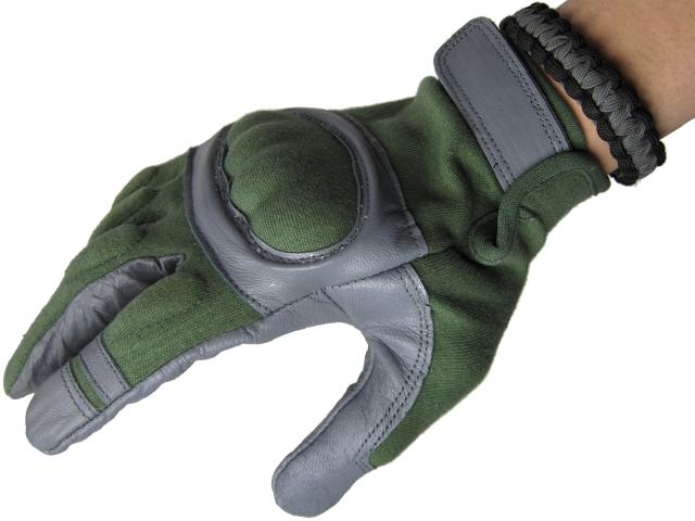 Nomex Hard Shell Knuckle Tactical Gloves - Sage Green (Size: Medium)