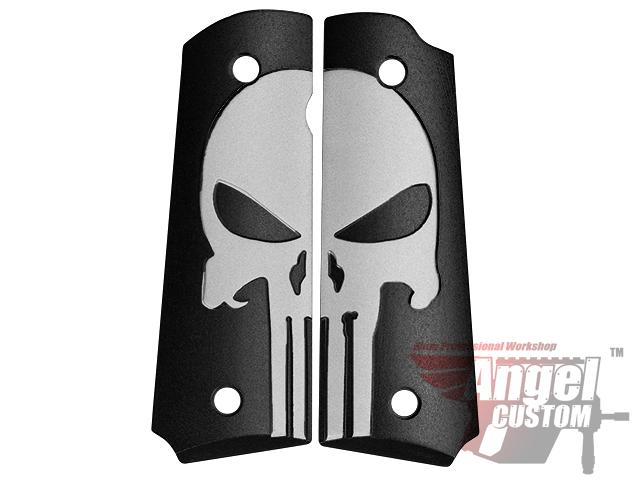 Angel Custom CNC Aluminum Hand Grip Panels for Marui M1911 / MEU Airsoft GBB Pistols - SEAL Skull / Black
