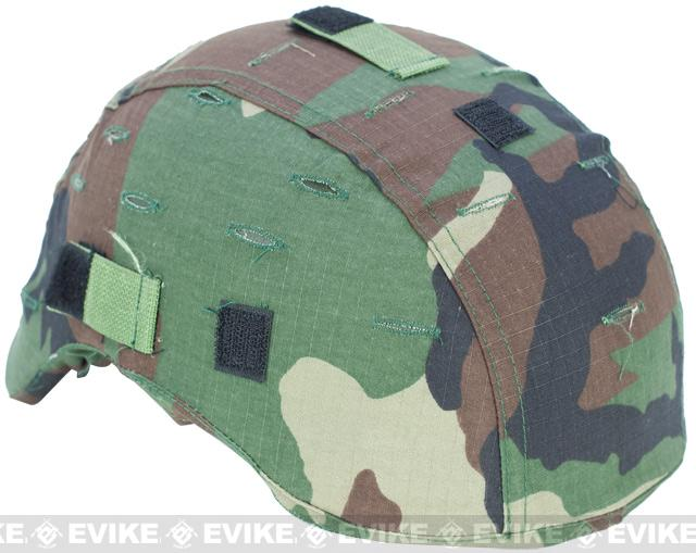 Military Style Combat Helmet Cover for MICH-2001 / T-2001 Protective Combat Helmet Series - Woodland