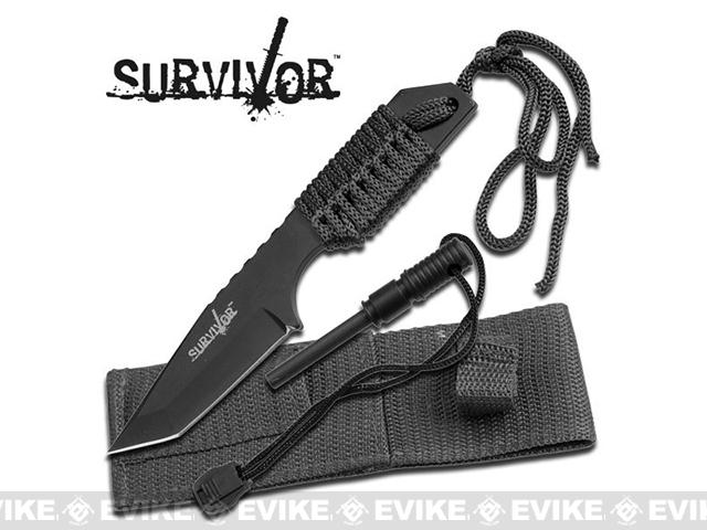 Survivor 7 Cord Wrapped Fixed Blade Survival Knife with Sheath and Fire Starter