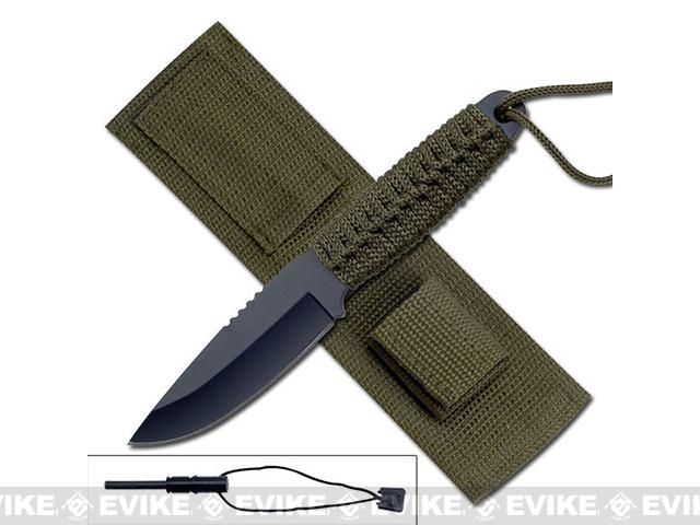 Survivor 8 Cord Wrapped Fixed Blade Survival Knife with Sheath and Fire Starter - OD Green