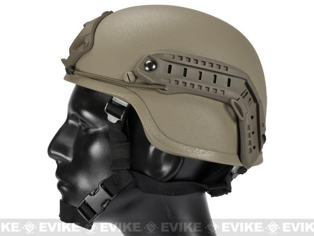 Matrix Mich 2000 Helmet w/ NVG Mount & Side Rail For Airsoft - Tan