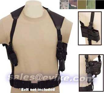 Universal Tactical Shoulder Holster with Dual Magazine Pouch - Black