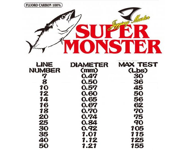 Jigging Master Super Monster 100% Fluorocarbon leader 50M (Test: 50 Lbs)