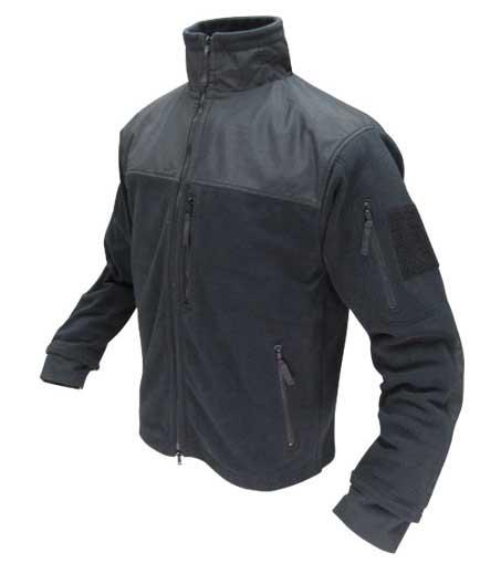 Condor Tactical Fleece Military Cold Weather Jacket - Black (Size: Medium)