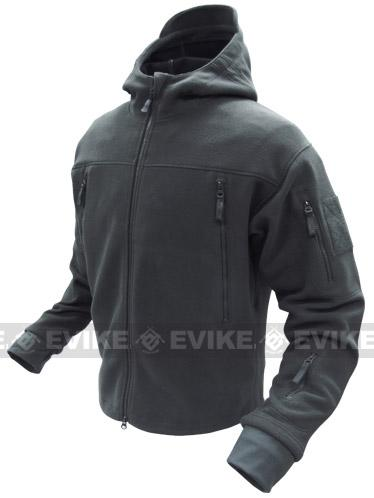 Condor Tactical Sierra Micro Fleece Jacket w/ Hood - Black (Size: Large)