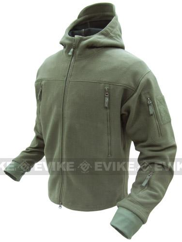 Condor Tactical Sierra Micro Fleece Jacket w/ Hood - OD Green (Size: Medium)