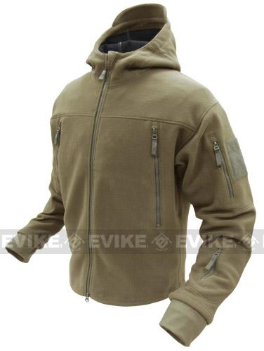 z Condor Tactical Sierra Micro Fleece Jacket w/ Hood - Tan (Size: Small)