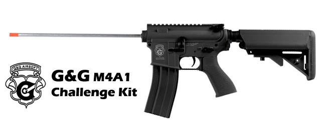 G&G M4 Challenge Kit Standard Combat Machine Airsoft AEG - Black (Package: Add 9.6 Butterfly Battery + Smart Charger)